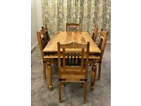 Indian rosewood dining table with 6 chairs