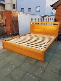 King Size Solid Wood (Oak) Bed With Good Quality Mattress and Storage Drawers
