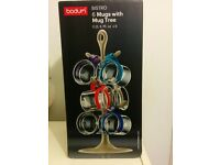 Bodum Bistro Blue Mugs & Mug Tree Set