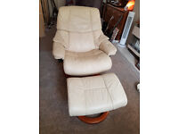 Stressless Recliner and footstool, cream leather