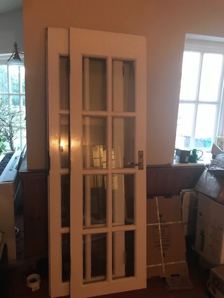 External Wooden Glazed Double Doors With Lock In Sutton