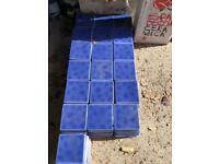 250 blue glazed square tiles (10.6cm square)- Spanish