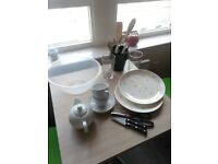 Crockery, glasses, dish