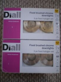6 x NEW Brushed Chrome Fixed Downlights