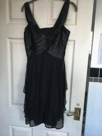 Black Cocktail Party Dress - Little Black Dress size 8 -10 bodice with high waist & chiffon skirt