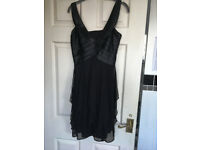 Black Cocktail Party Dress - Little Black Dress size 8 -10 bodice with high waist & chiffon skirt