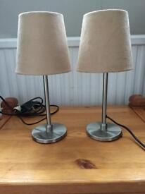 Two small table bedside lamps