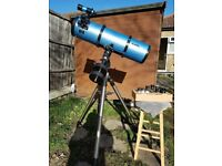 "Skywatcher 8"" reflector scope. H/duty mount, full lens set/Barlow/finderscope."