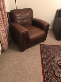 Light brown deep comfy leather couch