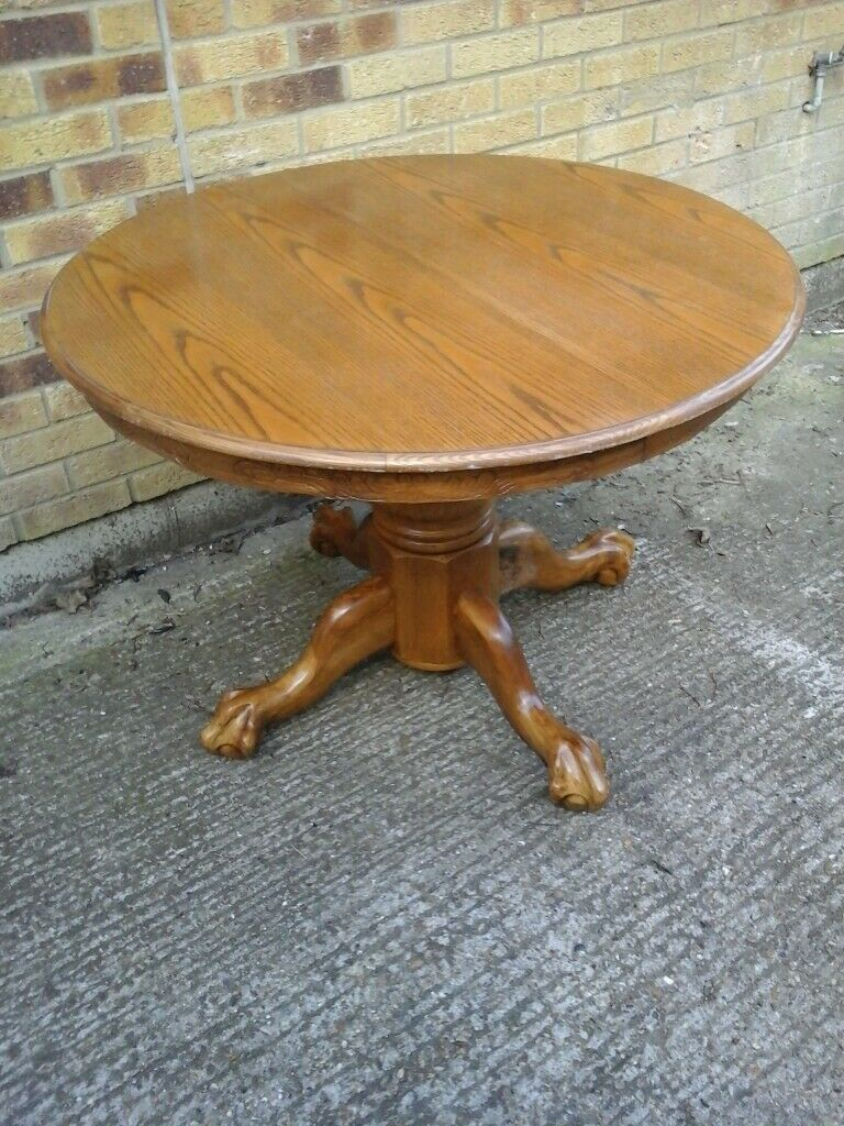 Solid Oak Pedestal Dining Table With Claw And Ball Feet In Wonderful Condition Maidstone Kent Gumtree