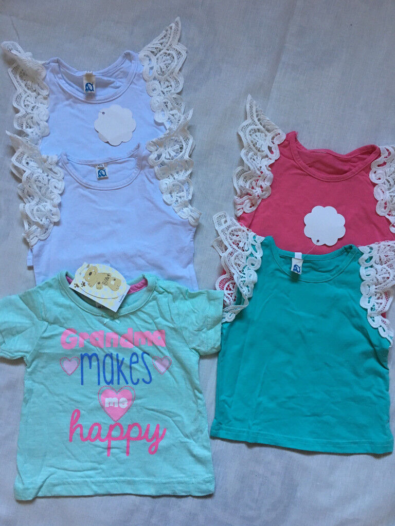 3ee802111 Baby Girls Summer Top Bundle and Grandma T-Shirt BNWT Size 3-6 ...