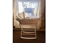 REDUCED Izziwotnot Moses Basket crib with Rocking Stand, white wicker