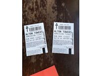 Two tickets for Alton Towers.