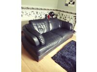 Modern Black Real Leather Sofa and Cuddle Chair