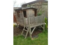 Wooden playhouse with ladders