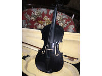 Fine 4/4 Full Size Beginners Black Acoustic Violin Set With Case Bow
