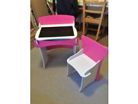 Wooden desk and Chair. Girls. 3-6yrs. Pink and white.