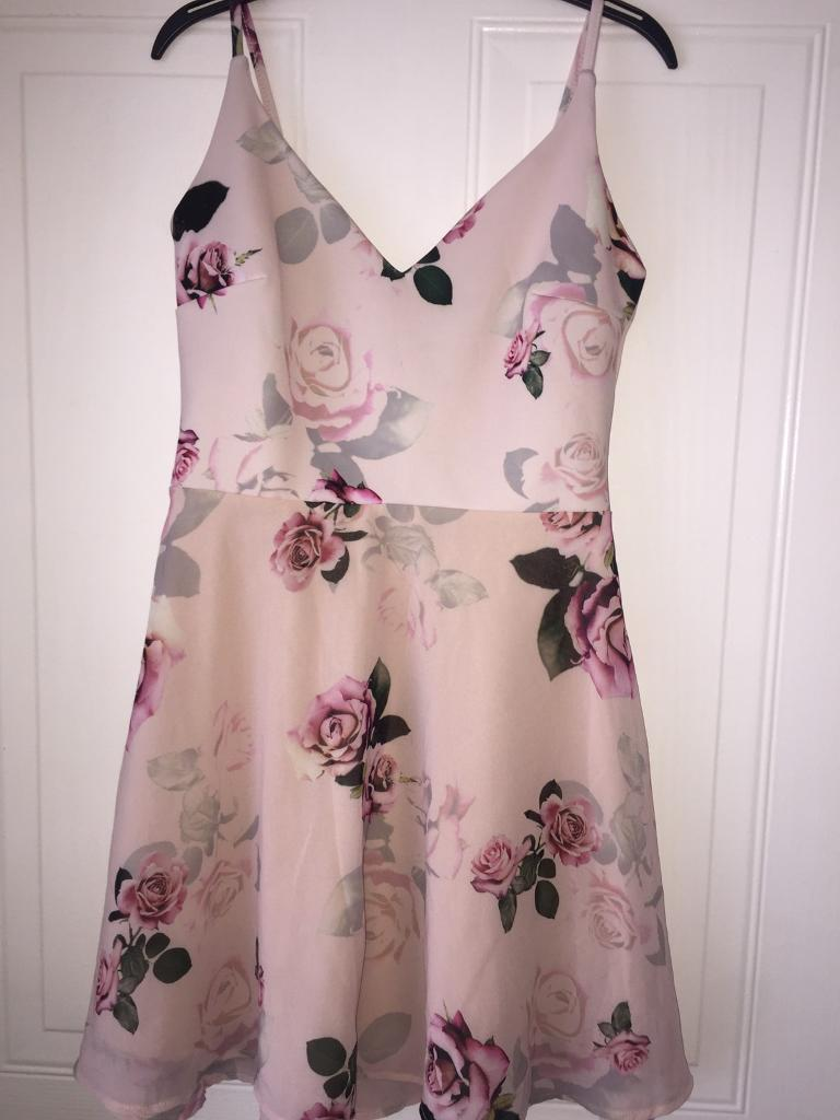 Lipsy Arianna Grande Dress - Size 8 - Light Pink With Flowers + Mesh Skirt