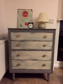 Retro upcycled chest of drawers in fossil grey and old white finish