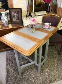 Vintage solid oak gateleg drop leaf dining table refurbished compact size