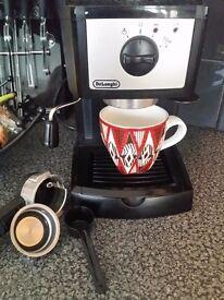 Delonghi Coffee Machine, Tefal blender, dishes