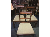 Very Nice Set of 4 Antique Victorian Inlaid Solid Mahogany Dinning Chairs