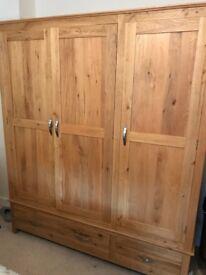 Solid oak triple wardrobe