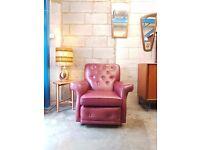 Vintage Leather Mid Century Armchair