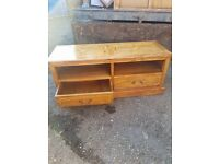 Oak bookshelf and oak TV cabinet