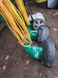 2 Black and Decker grass trimners and Alco push on lawnmower