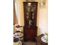 Mahogany Veneer Corner Glass Display Cabinet dresser unit vintage (2 available)
