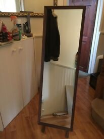 Long Brown Vintage Mirror With A Stand