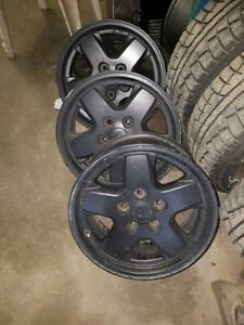 4 Used Black Aluminum Jeep Liberty Rims 16