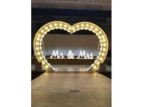 8ft love heart and MR & MRS letters for hire