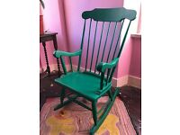 Beautiful green painted wooden rocking chair
