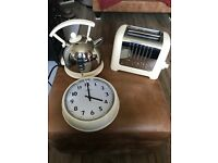 Cream dualit kettle, toaster and clock