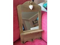 Wooden frames mirror shelf with hooks