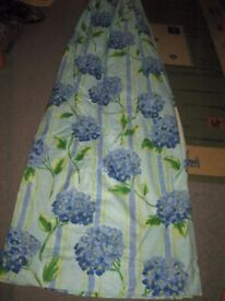 Curtains made by John Lewis Blue Hydrangea Design Jonelle Cotton Fabric. Lined