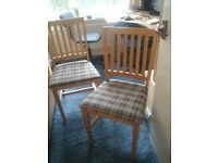 Two x wooden kitchen chairs