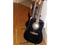 """SQUIRE by Fender. 6 string R H Acoustic guitar in Black Finish. Great """"near new"""" Condition"""
