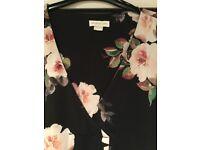 Monsoon Ladies black floral blouse Size 18