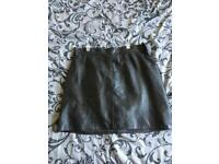 Vintage black leather mini skirt