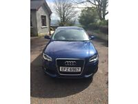 Metallic Blue Audi A3 Sline, 1400 petrol turbo, manual, one lady owner from new.