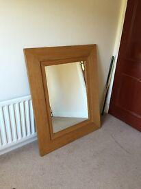 Large oak-framed mirror