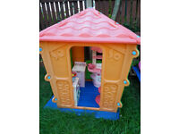 playhouse ,garden with outdoor toys, kitchen
