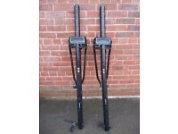 2 x ROOF BAR MOUNTED UNIVERSAL SINGLE BIKE CARRIERS - GREAT CONDITION - NEWLY REFURBISHED