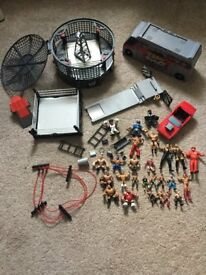 Huge Collection of Mini WWE Wrestling Figures and Playsets