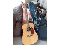 Solid top Fender DG-14S Acoustic Guitar (Natural) with new bag,capo and picks in excellent condition