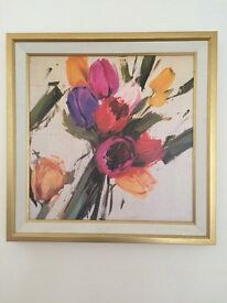 Large floral print and frame