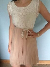 White lace and dusty pink dress UK size S/M